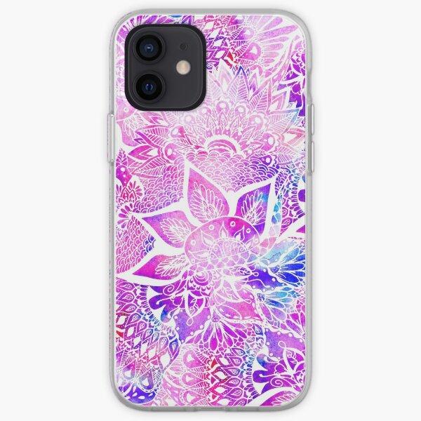 Purple blue henna boho floral mandala pattern iPhone Soft Case