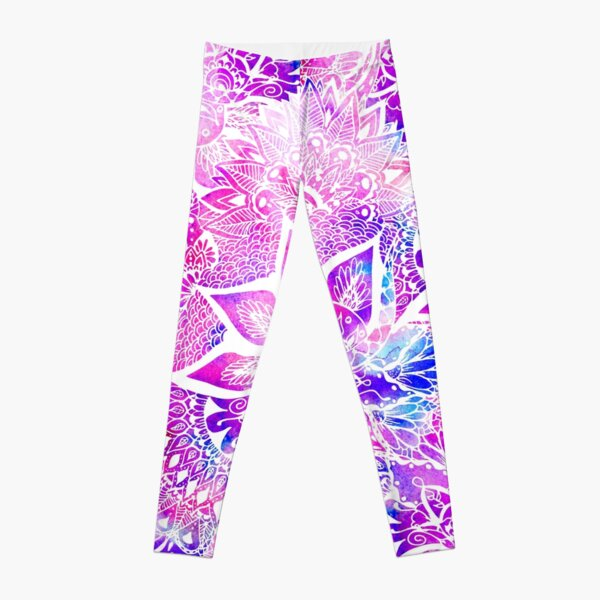 Purple blue henna boho floral mandala pattern Leggings