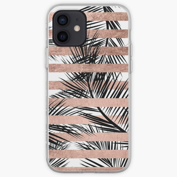 Trendy tropical palm trees chic rose gold stripes iPhone Soft Case