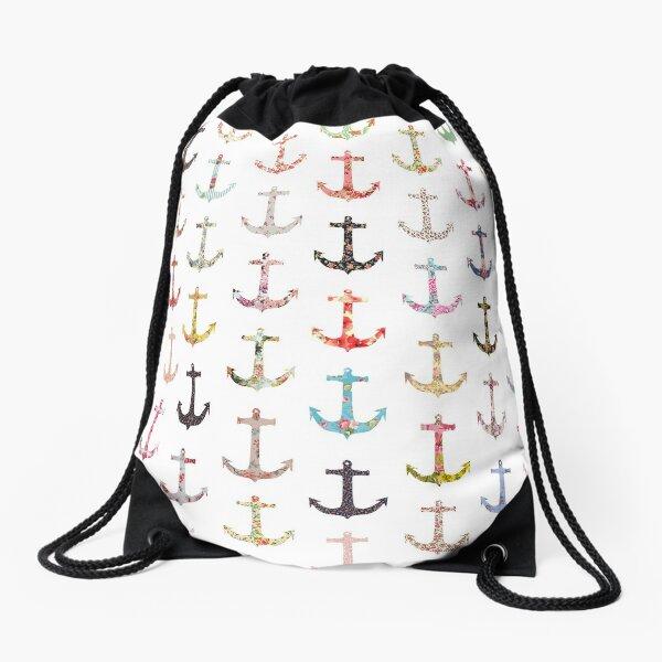 Vintage retro sailor girly floral nautical anchors Drawstring Bag