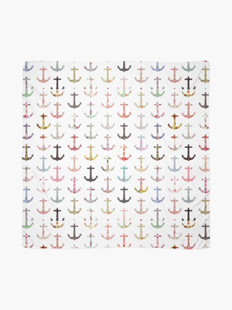 Alternate view of Vintage retro sailor girly floral nautical anchors Scarf