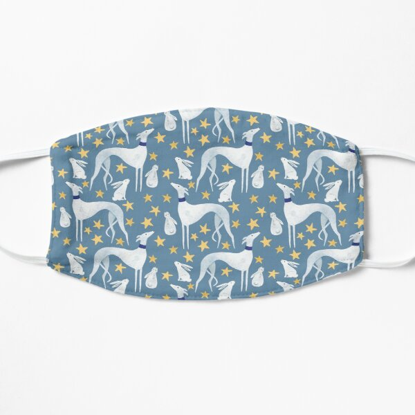 Galgo, hare and stars Flat Mask