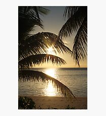 A Fijian Sunset Through The Palm Trees. Photographic Print