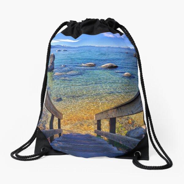 Speedboat Beach Lake Tahoe Drawstring Bag