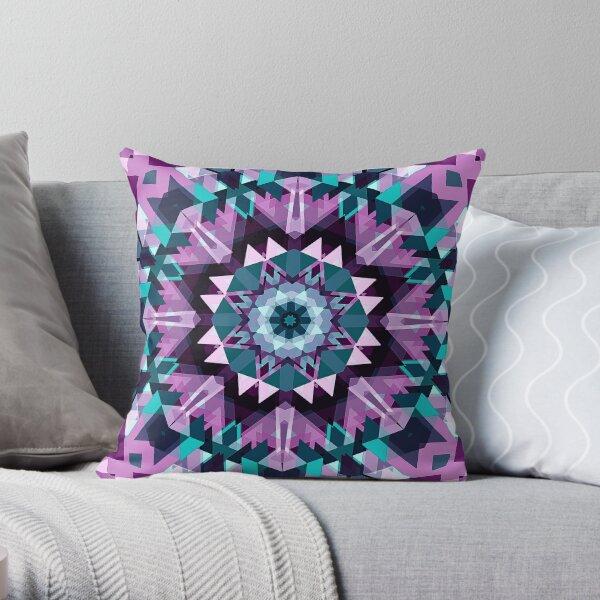 Prismic Star Mandala Futuristic Cyberstyle Throw Pillow