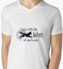 Running with the Wolves (with moon) Men's V-Neck T-Shirt