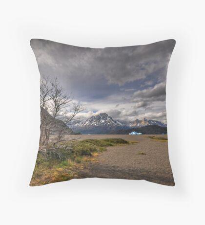 The Shore of Lago Grey Throw Pillow
