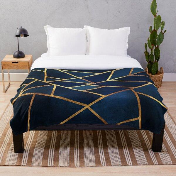 Navy Gold Stone Geometric  Throw Blanket
