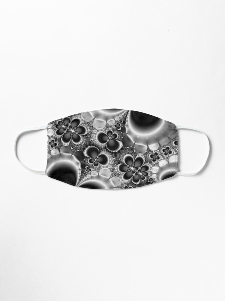Alternate view of Black and White Flower Pattern Mask