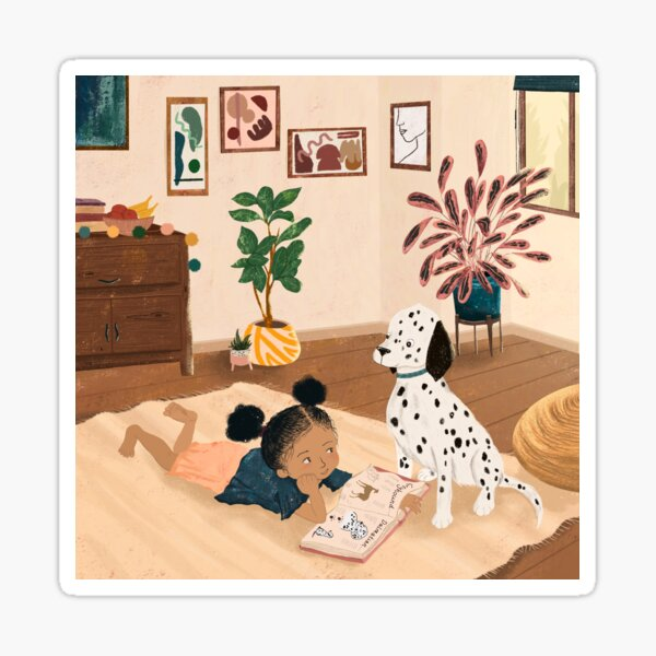 Little Girl Reading With Dalmatian Dog  Sticker