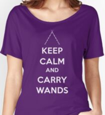Keep Calm and Carry Wands Women's Relaxed Fit T-Shirt