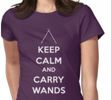 Keep Calm and Carry Wands Womens Fitted T-Shirt