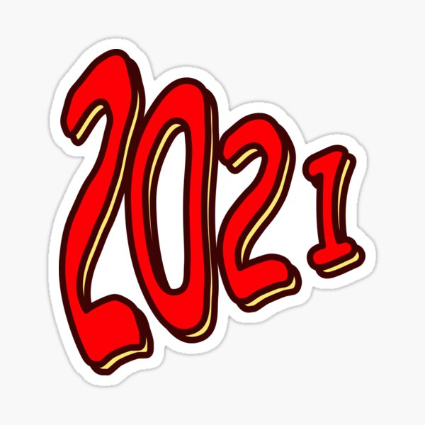Number 2021, New Year Sticker