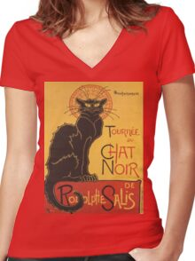 Soon, the Black Cat Tour by Rodolphe Salis Women's Fitted V-Neck T-Shirt