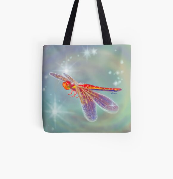 Glowing Dragonfly Variation II All Over Print Tote Bag