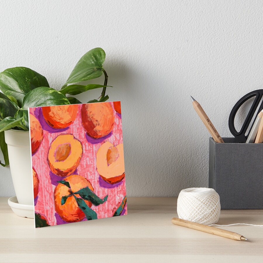Peaches on Pink Background Art Board Print
