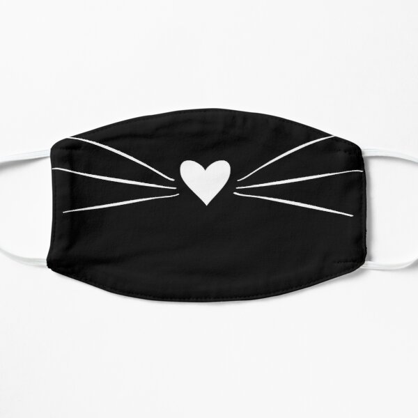 White Cat Heart Nose & Whiskers Mask