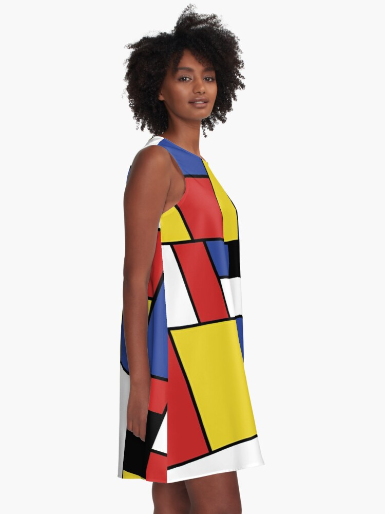 Alternate view of Mondrian Geometric Art  A-Line Dress