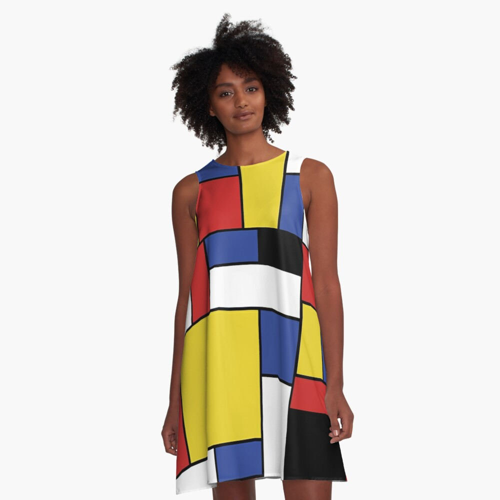 Mondrian Geometric Art  A-Line Dress