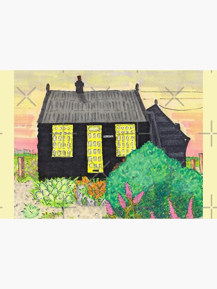 Derek Jarmans Prospect Cottage at Sunset - Dungeness, Kent. by JaneWrenArt