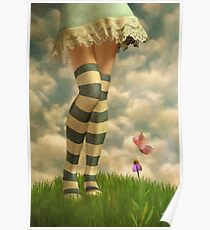 Cute Girl with Striped Socks Poster
