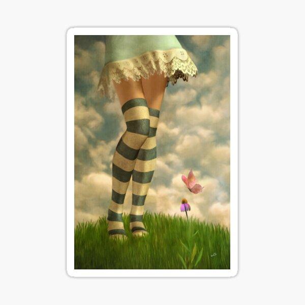 Cute Girl with Striped Socks Sticker