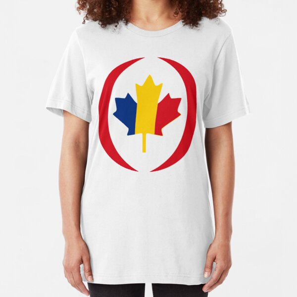 Romanian Canadian Multinational Patriot Flag Series Slim Fit T-Shirt