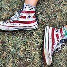 Red Striped Chuck Taylors by SuddenJim