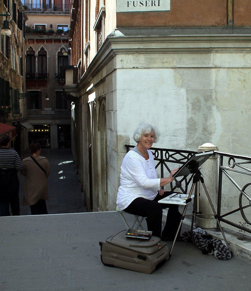 Painting on a bridge in Venice by Freda Surgenor