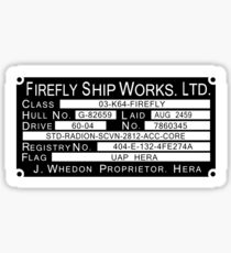 Firefly Ship Works Ltd. Aufkleber Sticker