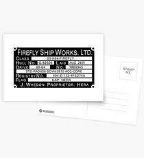 Firefly Ship Works Ltd. Sticker Postcards