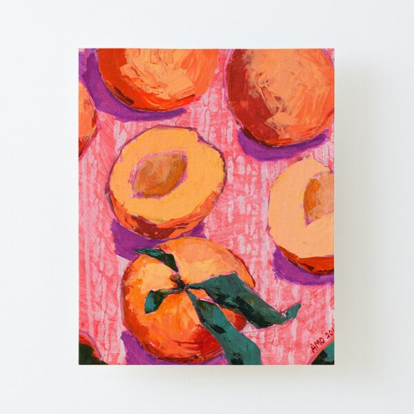 Peaches on Pink Background Canvas Mounted Print
