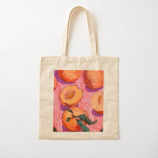 Peaches on Pink Background Cotton Tote Bag
