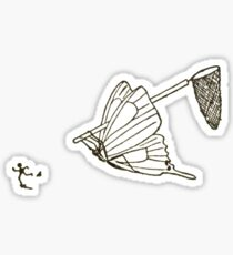 Butterfly Chasing Man With Large Net Sticker