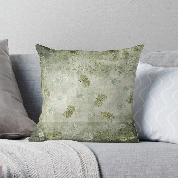 Sage Green Wallflowers Throw Pillow