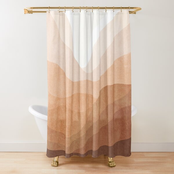 Warm mountain landscape Shower Curtain