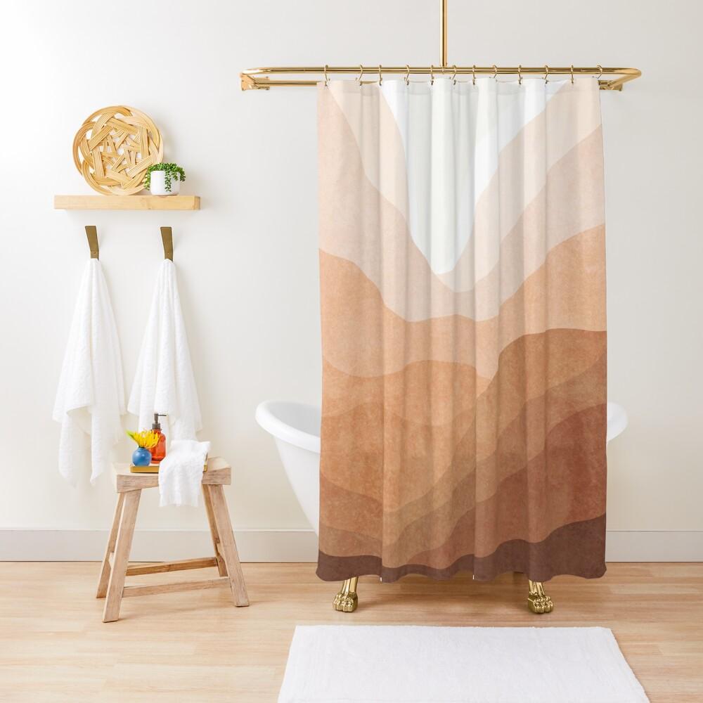 Warm mountain landscape Shower Curtain