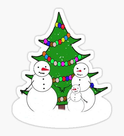 Snowman Family Enjoy a White Christmas  Sticker