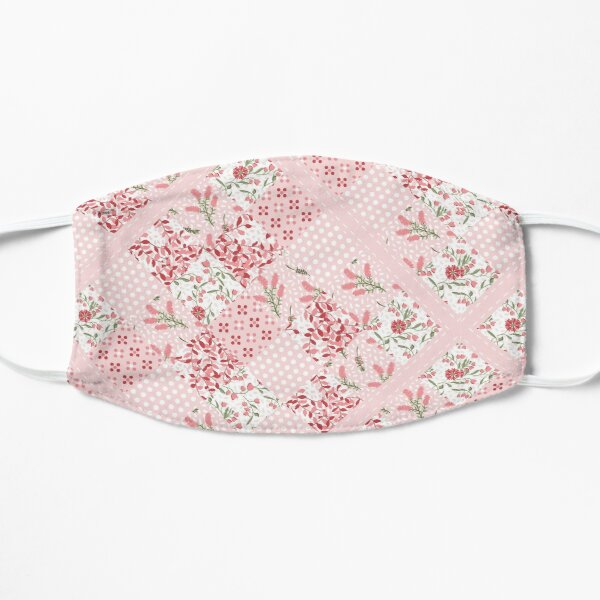 Soft and pretty pink floral patchwork squares Flat Mask