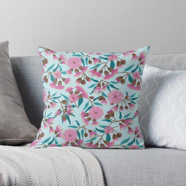 Australian Gum Flowers Pink Throw Pillow