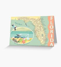 Florida Map with Dinner Key Greeting Card