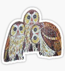 Three Owls In Mosaic Art Nouveau Style Sticker