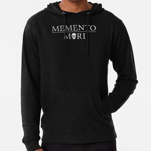 Latin Inspirational Quote: Memento Mori with Skull Lightweight Hoodie