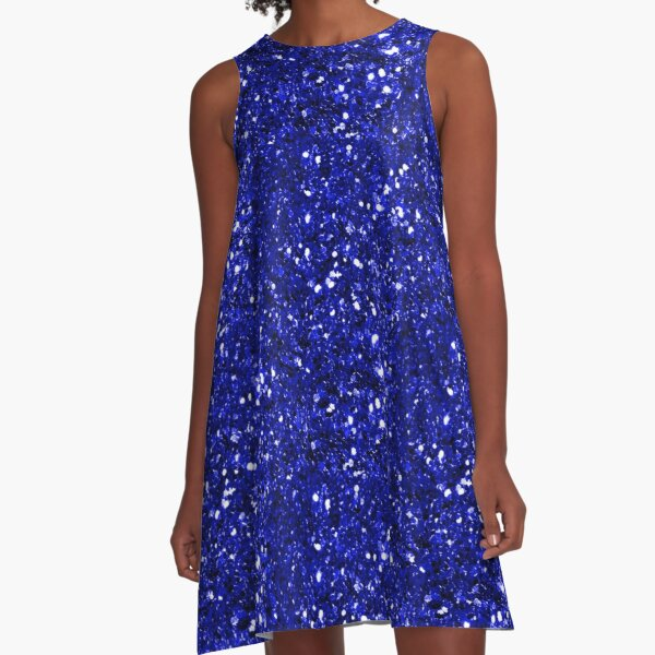 Royal Blue Sparkly Glitter Confetti A-Line Dress