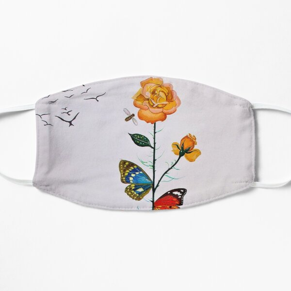 BUTTERFLY ROSE : Vintage Abstract Dali Painting Print Mask