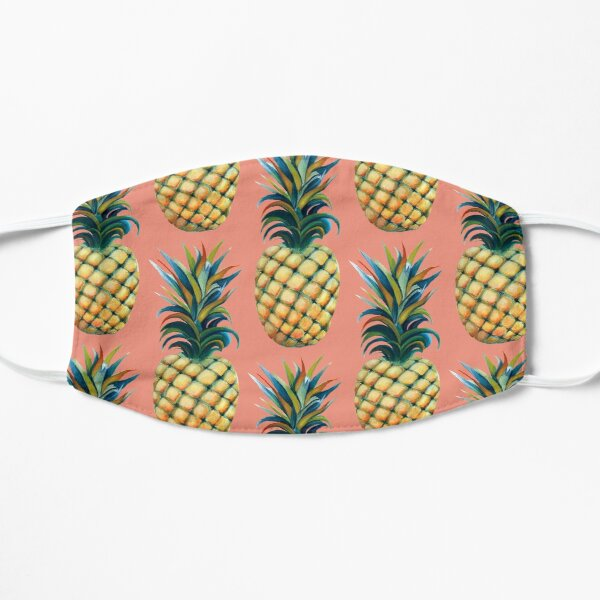 Pineapple watercolor - coral pink background Flat Mask