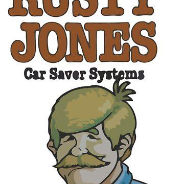 Rusty Jones Rust Prevention LoFi Square Sticker Print by chapel976