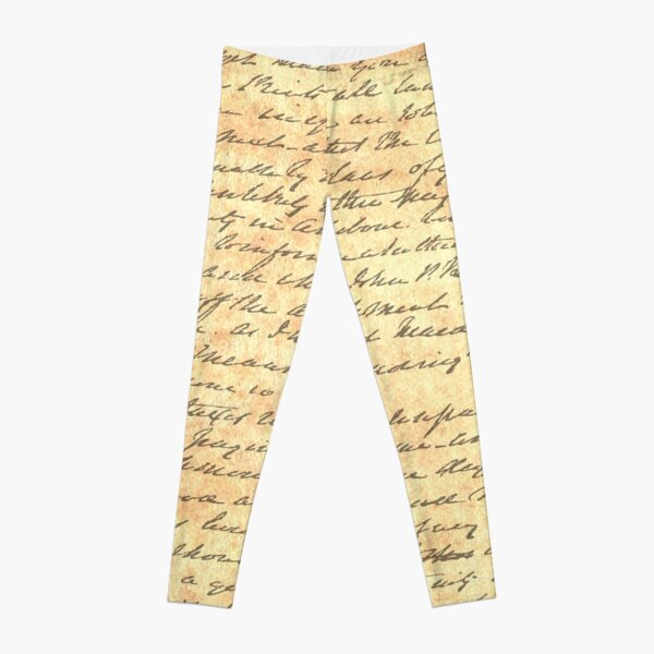 Reading is my Superpower Splatter Typography Quote Art (Vintage Paper) Leggings