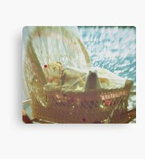 Bassinet with toys - vintage look Canvas Print
