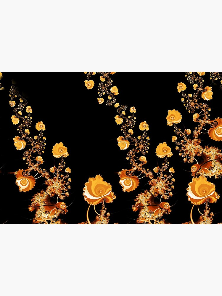 Abstract Gold Floral Roses Pattern on Black by RootSquare